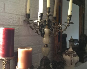 Beautiful Italian Marble and Ornate Baroque Metal Candelabra-Five Taper