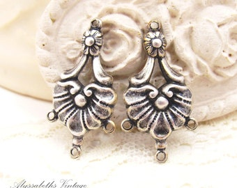 Antiqued Silver Ox Victorian Shell Floral Brass Chandelier Earring Connectors 4 rings - 4