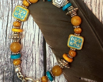 Southwest Style,Carved Yellow Jade, Czech Glass Beads, Bali Silver Toggle, 7 Inch Bracelet
