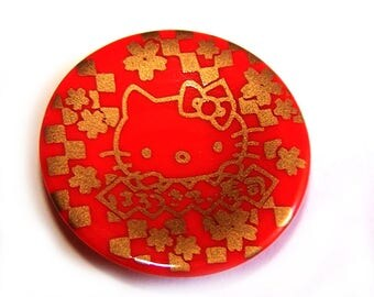 1 small red kawaii plate for jewelry making / creative decor