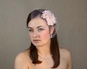 Soft Pink Bridal Silk Flowers with Birdcage Veil