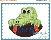 50% Off INSTANT DOWNLOAD Alligator on Football applique digital design for embroidery machine by Applique Corner