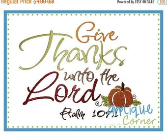 50% Off INSTANT DOWNLOAD Give Thanks Unto the Lord applique design in digital format for embroidery machine by Applique Corner