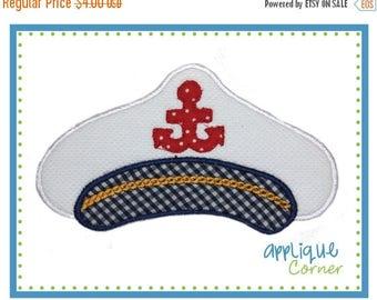 50% Off 532 Nautical Captain's Hat applique digital design for embroidery machine by Applique Corner