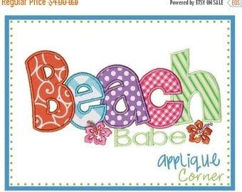 50% Off Beach Babe applique digital design for embroidery machine by Applique Corner