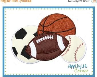 40% OFF Sport Balls, soccer, football, basketball and baseball applique digital design for embroidery machine by Applique Corner