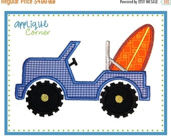 40% OFF 554 Jeep with Surf Board applique digital design for embroidery machine by Applique Corner