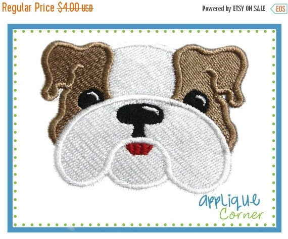 50% Off 630 Bull dog filled mini embroidery design in sizes 1, 1 1/2, 2, 2 1/2, 3 inchs digital for machine by Applique Corner