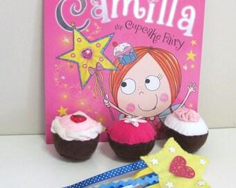 Cupcake Felt Food, Child's Book, Fairy Wand, Felt Play Food, Learn to Read