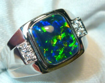 Mens Opal Ring Sterling Silver, Natural Opal Triplet. 10x8mm Rectangle. item 060608
