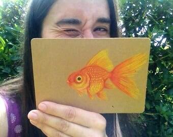 Original art goldfish postcard on craft card with envelope goldfish drawing