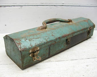 Vintage Craft Box Old Aqua Blue Paint Metal Tackle - Organize Crafts - Tool Toolbox Storage - Succulent Planter