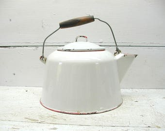 Vintage Red White Enamel Kettle Teapot Pitcher Perfectly Primitive Coffee Tea Pot