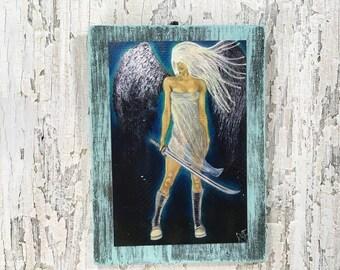 The Guardian Wall Art By Artist Rafi Perez Original Artist Enhanced Print On Wood