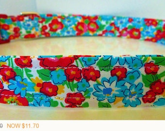 """Puppy Love Sale - 40% Off Dog Collar - Red and Blue Modern Vintage Inspired Floral Dog Collar """"Poppy"""" - Free Colored"""