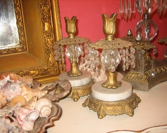 vintage candle holders with marble and prisms