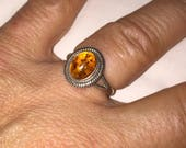 Sweet Amber Ring Vintage Sterling and Amber Size 5.5 Ring