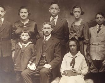 Beautiful Antique Photo of Edwardian Family Circa 1910s-20s Sepia Tone w Parents and Children