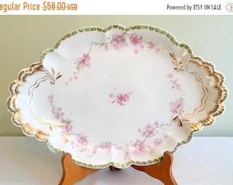 """Save 15% OFF Haviland Limoges/French Limoges Platter/Pink Floral Limoges/15.75"""" Serving Platter/Limoges Oblong Platter/1930s Haviland Limoge"""