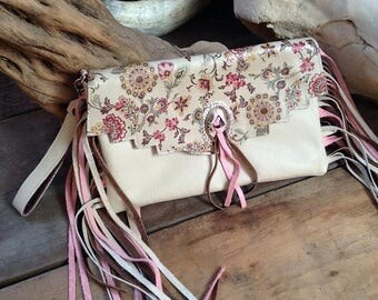 20% OFF Western kimono floral print leather fringe clutch