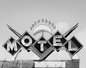 Neon Sign • Motel Sign Black & White Photo • Retro Motel • Sign Photography Print • Chevron Photo • Retro Art • Antique Sign • Vintage Sign