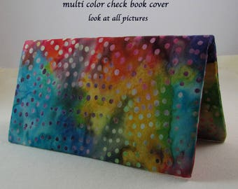 Multi Color Checkbook Cover - Coupon Holder - Blue Red Orange Purple Green Yellow Rainbow Check Book Cover - Checkbook Gift Idea