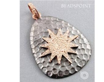 Pave Diamond Pendant, Pave Diamond Hammered Starburst Pendant, Starburst Pendant, Diamond Starburst Pendant, Star Pendant, (DP-1503)