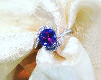 Alexandrite Ring or Engagement Ring JUNE BIRTHSTONE Full Color Shift Purple to Blue Gorgeous Gift Handmade by NorthCoastCottage Jewelry
