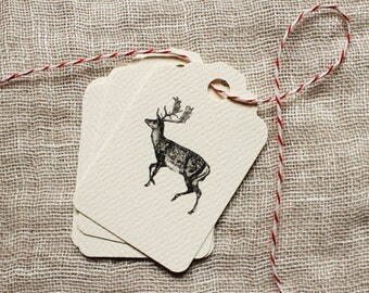 Holiday Gift Tag | Reindeer Gift Tag | Christmas Gift Tag | Rustic Gift Tag | Scallop Tag | black and white Christmas Tag | reindeer tag