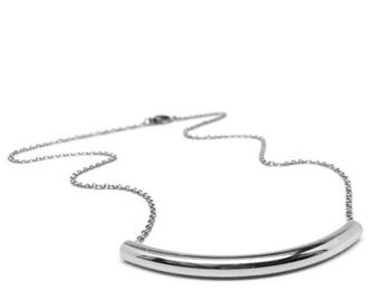 Curved Bar Necklace for Women, 316L Stainless Steel, Hypoallergenic Jewelry, Gift Ideas for Her, Minimalist Design