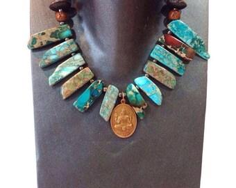 bib necklace statement, blue statement necklace, chunky stone necklace, jasper necklace, bold necklace