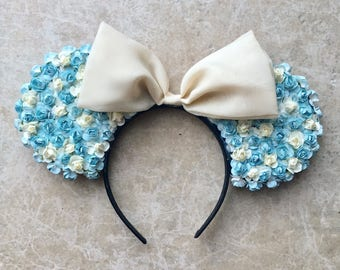 Blue and White Floral Minnie Mouse Ears