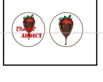 "2 cabochons glass ""Chocolate Addict"""