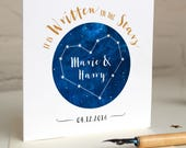 Personalised Wedding card - Celestial Stars - written in the stars