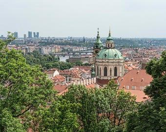 Prague Czech Republic Czechia Skyline City Overlooking Urban Cityscape Architecture Color Landmark Europe Art Photo Print