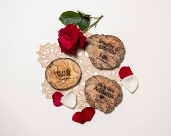 50 Wedding Favours - Driftwood - Wood Coasters - Engraved - Wood Slice - Sustainable Gift - Eco Houseware