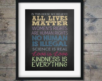 ALL LIVES MATTER - Human rights, inspirational art, anti-bully, wall decor, equality, feminist print, kindness, women's rights (MMRights5)