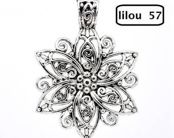 1 large 66x48mm openwork flower charm pendant