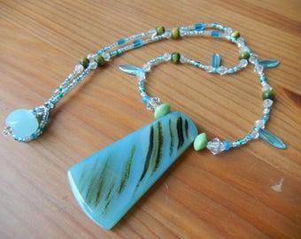 Blue Glass Pendant on Handmade Beaded Necklace  - Hippie Jewelry - Women - Blue, Green, Earthy, Boho, Hippie, Summer, Beach