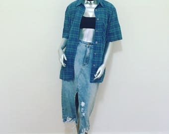 Vintage 90s Check Plaid Shirt Top