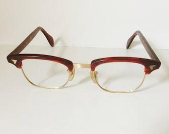 Vintage Glasses Browline Combination Eyeglasses 12 Carat Gold Filled Horn Rimmed Glasses