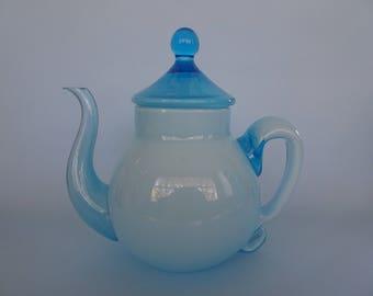Blue glass teapot hand-blown art glass teapot maybe Murano 1980s