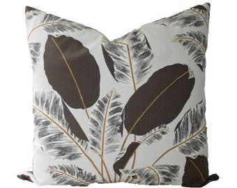 Decorative Designer, Tropical Palm Leaves, Grey Pillow cover, 18x18, 20x20, 22x22 or lumbar Throw Pillow