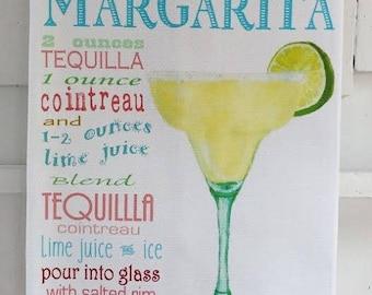 Margarita Drink Recipe Cotton Huck Kitchen Towel, 18x33