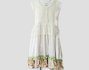 Linen Dress Embellished Unique Upcycled Boho Women's Clothing Altered Couture Clothes