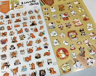 A Sheet of Paper Sticker (Pick 1) - Lovely Dogs or Lucky Cats