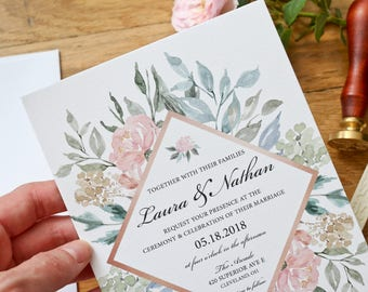 Wedding Invitation Suite - The Rosaline Collection - Classic Wedding Invitations - Floral Wedding Invitations- Summer Wedding Invitations