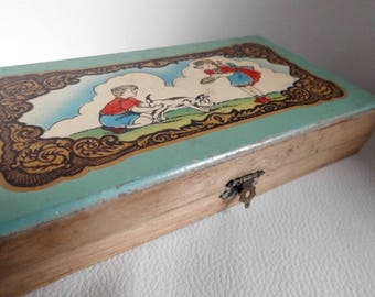 Antique wooden pencil case - Antique pencil case