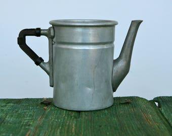 Vintage aluminium coffee pot with bakelite handle