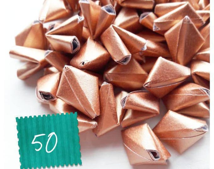 50 metallic rose gold paper origami heart love messages - wedding - Free worldwide shipping - wedding favour - rose gold wedding decoration